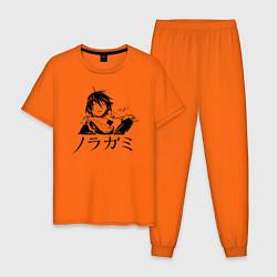 Пижама хлопковая мужская Бездомный Бог цвета оранжевый — фото 1