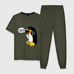 Пижама хлопковая мужская Пингвин: Linux цвета меланж-хаки — фото 1