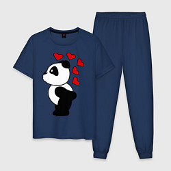 Пижама хлопковая мужская Поцелуй панды: для него цвета тёмно-синий — фото 1