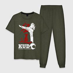 Пижама хлопковая мужская Kudo цвета меланж-хаки — фото 1