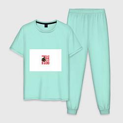 Пижама хлопковая мужская Пожелай мне удачи в бою цвета мятный — фото 1