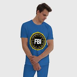 Пижама хлопковая мужская FBI Departament цвета синий — фото 2