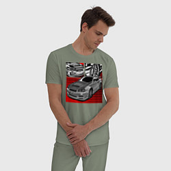 Пижама хлопковая мужская Nissan R34 цвета авокадо — фото 2