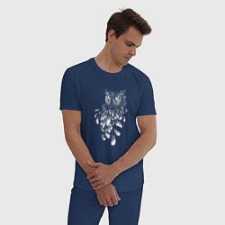 Пижама хлопковая мужская Сова и перья цвета тёмно-синий — фото 2