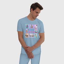 Пижама хлопковая мужская BTS Boys цвета мягкое небо — фото 2