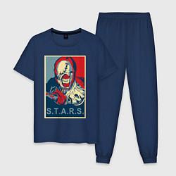 Пижама хлопковая мужская STARS цвета тёмно-синий — фото 1