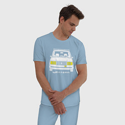 Пижама хлопковая мужская Жигули 2107 цвета мягкое небо — фото 2