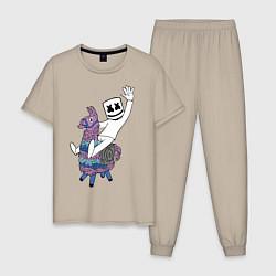 Пижама хлопковая мужская Marshmello x Llama цвета миндальный — фото 1