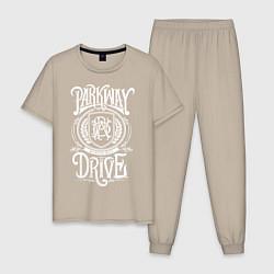 Пижама хлопковая мужская Parkway Drive цвета миндальный — фото 1
