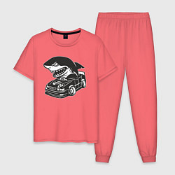 Пижама хлопковая мужская Акула на Тойоте цвета коралловый — фото 1