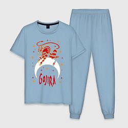 Пижама хлопковая мужская Gojira: Evil Demon цвета мягкое небо — фото 1