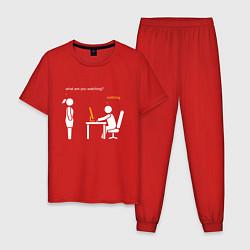 Пижама хлопковая мужская Pornhub цвета красный — фото 1