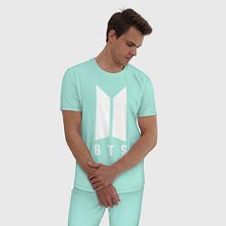Пижама хлопковая мужская BTS J-HOPE цвета мятный — фото 2