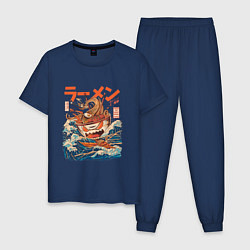 Пижама хлопковая мужская Great Ramen: Kanagawa цвета тёмно-синий — фото 1