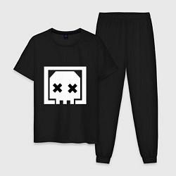 Пижама хлопковая мужская Apex Legends: Skull цвета черный — фото 1