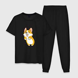 Пижама хлопковая мужская Корги лапочка цвета черный — фото 1