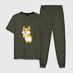 Пижама хлопковая мужская Корги лапочка цвета меланж-хаки — фото 1