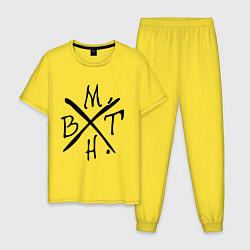 Пижама хлопковая мужская BMTH цвета желтый — фото 1