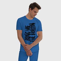 Пижама хлопковая мужская Bring me the horizon цвета синий — фото 2