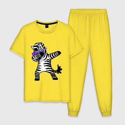 Пижама хлопковая мужская Zebra DAB цвета желтый — фото 1