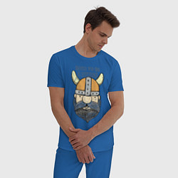 Пижама хлопковая мужская Born to be a Viking цвета синий — фото 2