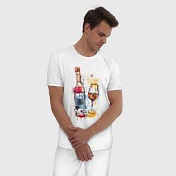 Пижама хлопковая мужская Винишко цвета белый — фото 2