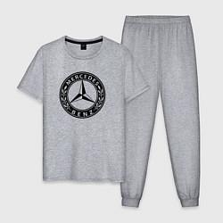 Пижама хлопковая мужская MERCEDES-BENZ: Classic цвета меланж — фото 1
