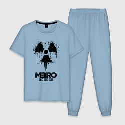 Пижама хлопковая мужская METRO EXODUS цвета мягкое небо — фото 1