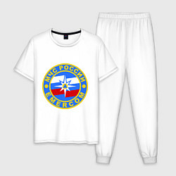 Пижама хлопковая мужская Emercom Russia цвета белый — фото 1