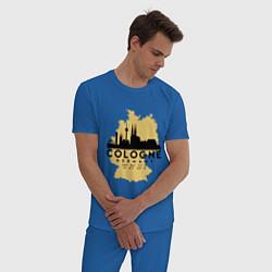 Пижама хлопковая мужская Cologne цвета синий — фото 2