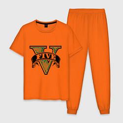 Пижама хлопковая мужская GTA V: Logo цвета оранжевый — фото 1