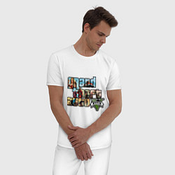 Пижама хлопковая мужская GTA 5 Stories цвета белый — фото 2