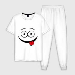 Пижама хлопковая мужская Неутомимый проказник цвета белый — фото 1