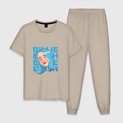 Пижама хлопковая мужская Billie Eilish: Goodbye цвета миндальный — фото 1