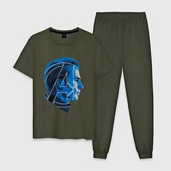 Пижама хлопковая мужская Captain America: Avengers цвета меланж-хаки — фото 1
