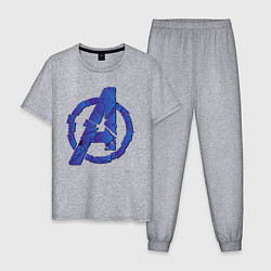 Пижама хлопковая мужская Avengers: Blue Style цвета меланж — фото 1