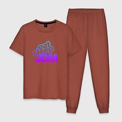 Пижама хлопковая мужская JDM цвета кирпичный — фото 1