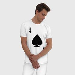 Пижама хлопковая мужская Пиковый туз цвета белый — фото 2