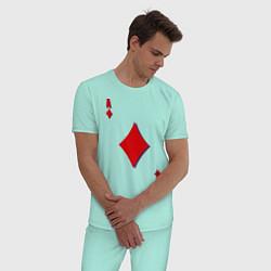 Пижама хлопковая мужская Бубновый туз цвета мятный — фото 2