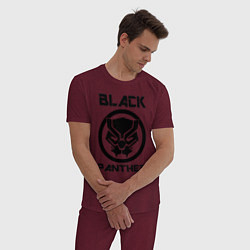 Пижама хлопковая мужская Черная пантера цвета меланж-бордовый — фото 2