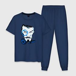 Пижама хлопковая мужская Взгляд Тони Старка цвета тёмно-синий — фото 1