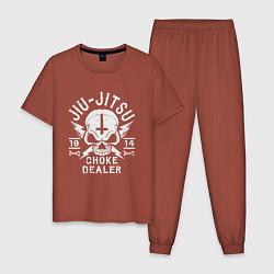 Пижама хлопковая мужская Jiu Jitsu цвета кирпичный — фото 1