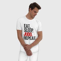 Пижама хлопковая мужская Есть, спать, дзюдо цвета белый — фото 2