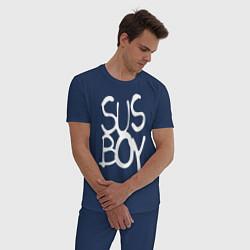 Пижама хлопковая мужская Sus Boy цвета тёмно-синий — фото 2