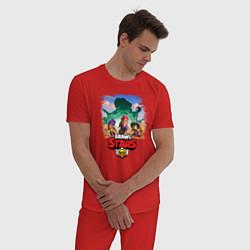 Пижама хлопковая мужская BRAWL STARS цвета красный — фото 2