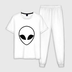 Пижама хлопковая мужская Гуманоид цвета белый — фото 1