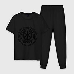 Пижама хлопковая мужская Эмблема РВиА цвета черный — фото 1