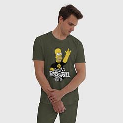 Пижама хлопковая мужская Rock n Roll цвета меланж-хаки — фото 2