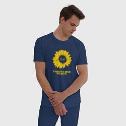 Пижама хлопковая мужская 21 Pilots: Sunflower цвета тёмно-синий — фото 2