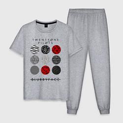 Пижама хлопковая мужская TOP: Blurryface цвета меланж — фото 1